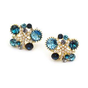 Fashion blue starfish crystal earrings